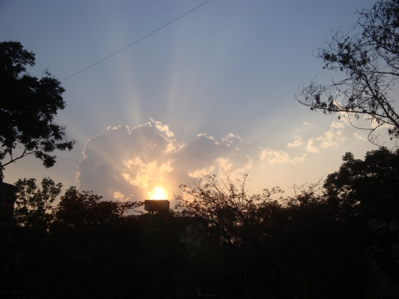 Setting sun with rays (1)